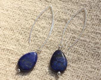 Earrings 925 Silver - Lapis Lazuli drops 18x13mm