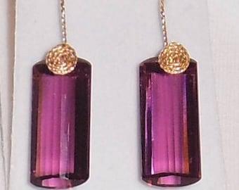 Natural 38cts Cushion Mix cut Purple Amethyst gemstones, 14kt yellow gold Pierced Earrings