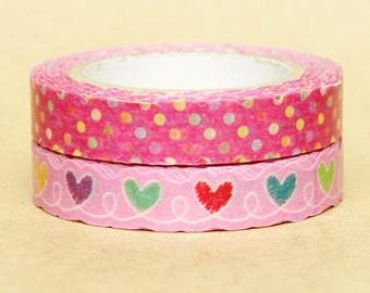 NamiNami Washi Masking Tape - Pink Dots & Hearts - Slim