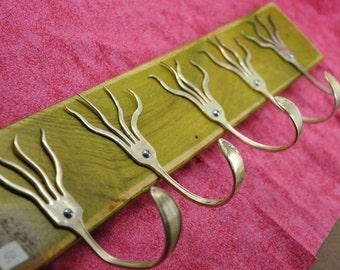 Go Green Stained 5 Funky Forks Coat Rack Recycled Silverware