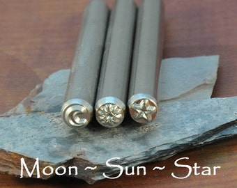 Celestial Metal Stamps - Moon, Sun, Star - Set of 3 Stamps - Astronomy - Moon - Sun - Star - 5mm