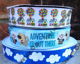"""7/8"""" Adventure is Out There  - US Designer Printed Ribbon - 1yd, 3yd or 5 yd - Clouds, Balloon House, Up"""