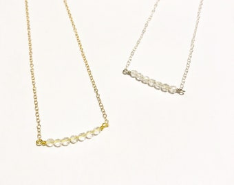 Clear Quartz Bar Necklace - Gold or Silver - April Birthstone - 18""