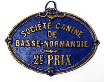 A french dog show trophy plaque circa 1926, French Canine 2nd Prize Trophy, Wall Mounted Dog Trophy, Blue and Gold Dog Trophy (608)