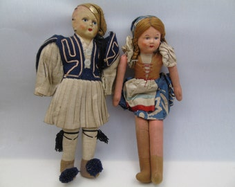 Mid Century Vintage Continental Pair of Hansel and Gretal 7 Inch Cloth Dolls