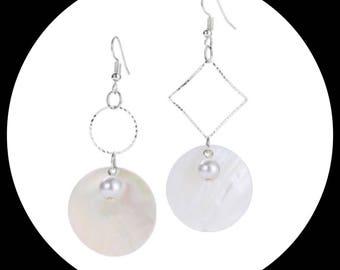 asymmetrical pendant earrings silver shell pearl loop earrings silver asymmetrical shell Pearl