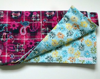 large baby blanket double sided pink flower motif, soft cozy blue daisy print on back