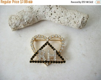 ON SALE Vintage Gold RH Rhinestones Pin 82116