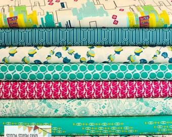 Art Gallery Utopia Teal & Magenta Bundle (8 Fabrics Total)