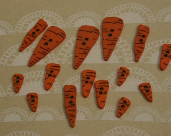 Carrot Nose Buttons - Christmas Snowman Buttons - 12 Assorted Carrot Noses Buttons