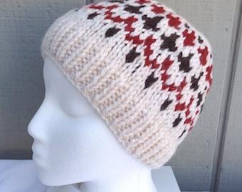 Fair Isle beanie - Knitted wool blend hat - Womens hat - Teens beanie - Knit wool beanie - Teens accessories