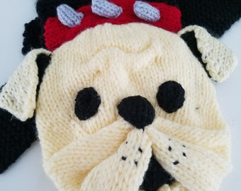 Knit Scarves. Scarf.Bulldog.Adult.Teen/Child.Fun Scarves For All the Family.Knitted Scarves