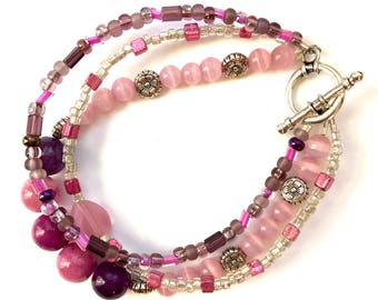 Plum Perfect 3 triple strand beaded bracelet
