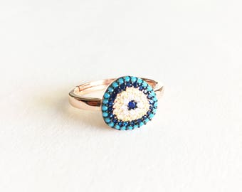 Rose Gold Evil Eye Ring • Blue Evil Eye Ring • Adjustable ring • Evil eye jewelry • Protection Ring • Large Evil Eye | 0042RM