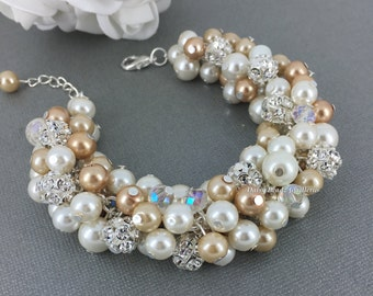 Champagne Cluster Bracelet Champagne Pearl Bracelet Champagne and Ivory Cluster Bracelet Bridal Jewelry Bridesmaid Bracelet