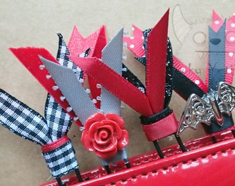 4 Large Double Ribbon Paper Clips *GOTHIC bats GLITTER black/red* For Planners & Scrapbooking.