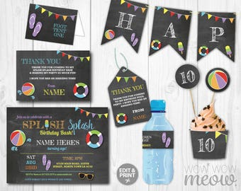 Swimming Party Package Invitation Birthday DOWNLOAD Printable Swim Kit Banner Invite Decoration Pool Splash Collection Editable Personalize