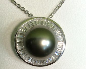 "18"" Sterling Silver and CZ 11-12mm Tahitian Pearl Sterling Silver Necklace"