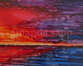 sunset painting-alcohol ink sunset original-original painting-framed ready to hang-seascape with sunset-alcohol ink seascape-alcohol ink art