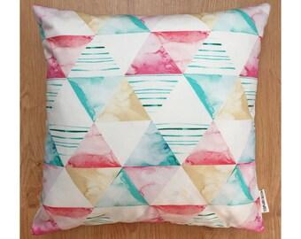 Geometric pattern cushion in hand-painted Shapes Aqua printed fabric