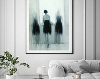 Gift for Her Modern Art Print, Black and White Canvas Art, Wall Canvas Print, Giclee Print, Ballerina Art