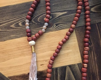 Large Rosewood and Agate Tassel Mala