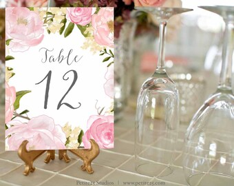 Pink Peony Table Numbers 1-30, Printable Wedding Table Numbers, Wedding Table Decor, 5x7 Table Number Card, Instant Download, rose, blush