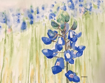 Greeting Cards: Bluebonnet in the Long Grass, Set of 4 Blank Note Cards, 4.25x5.5 inches