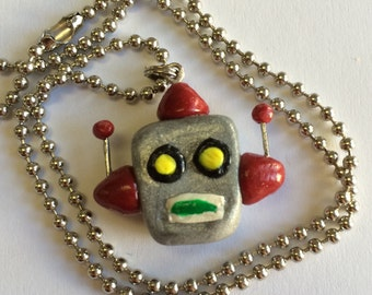 Robot Necklace, Handmade Clay Vintage Robot Pendant, Ball chain necklace, Halloween, Halloween Costume
