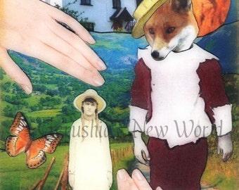 Jubal's Huckleberry Heart -  Anthropomorphic, Collage,  Print,  Fairy Tale Art, Mixed Media, Fox