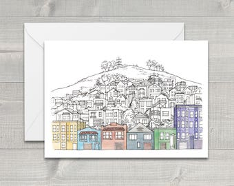 San Francisco Houses on the Hill Greeting Card
