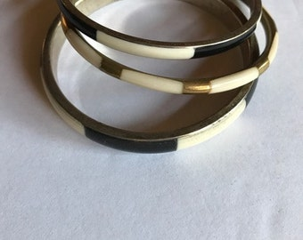 3 vintage brass bracelets start a stack 2 and a half inch opening nice together