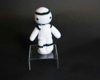 A Non-Shooting Stormtrooper, Crochet Star Wars Character, Knitted Star Wars Character, Knitted Star Wars, Knitted StormTrooper