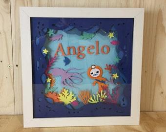 Children Bespoke gift, Gift for Grandson, Framed Layered Paper Art, Baptism Papercut, Bespoke Paper Gift, Customised Birthday Present