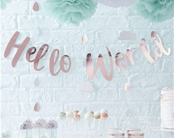 Baby Shower Party | Rose Gold Hello World Bunting | Baby Shower Decoration | Baby Shower Banner | Rose Gold Bab