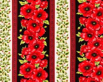 Red Poppy Striped Fabric -  100% Cotton Quilting Apparel Crafts Home decor