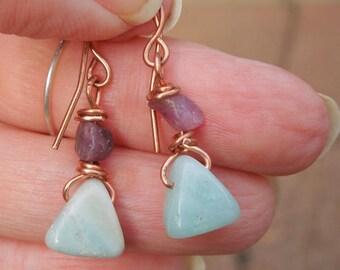 Red Raw Ruby Amazonite Copper Dangle Earring SRA- Bastet's Beads-