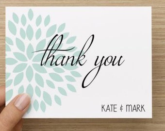 Bridal Shower Thank You Card.  Blue flower burst thank you.  Personalized.  Multiple pack sizes available!