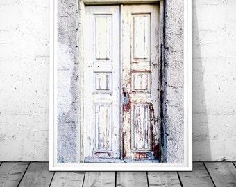 Door print Rustic Door Photography White Door Wall Art Greece Santorini print Greece Photography Rustic industrial Digital Instant download