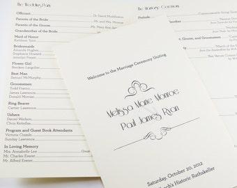 Art Nouveau Folded Ceremony Program Heavy Cardstock Custom 4 panels Wedding Handout Order of Events