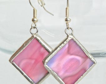 Pink Swirl Square Stained Glass Earrings
