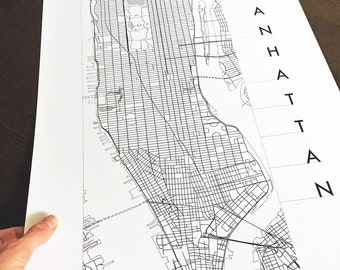 MANHATTAN Street Map City Map Drawing Black Grey Ink (Art Print) NEW YORK Wedding Realtor Gift Central Park Midtown Uptown Downtown