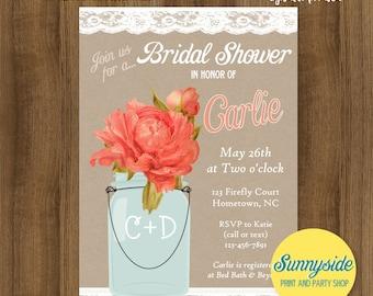Peony Bridal Shower Invitation with lace Mason Jar // coral peonies // wedding shower invite // printable or printed invitations