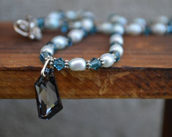 Blue Pearl Necklace with Swarovski Accent Crystals | Freshwater Pearl Necklace |