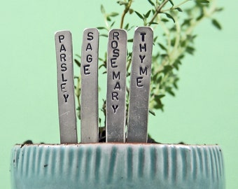 Herb Garden Plant Markers - Mini - Nickel - Individually or in Sets - As seen in Woman's Day Magazine