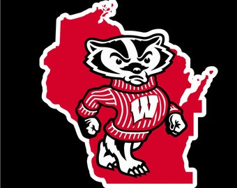 Wisconsin Badgers Decal | Wisconsin Badgers Sticker | Badger Car Decal | Great Gift | Three sizes to choose | Go Badgers