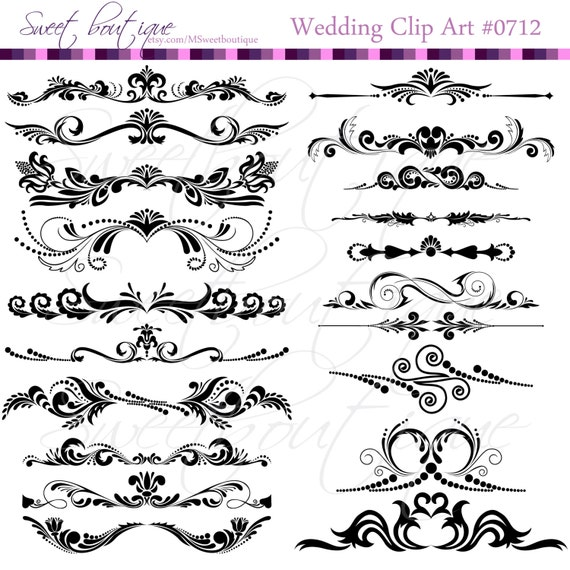 Flower Digital Borders Frames Ornate Wedding Shower Decorations ...