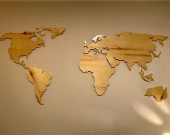 Wall-mounted wooden map for interior made to measure