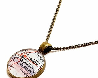 Cheyenne Map Necklace. Cheyenne Necklace. Made With A 1951 Vintage Map. Ready To Ship. Wyoming Map Resin Pendant Jewelry. City Necklace.
