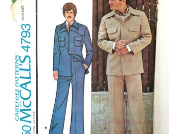 Men's Sewing Pattern Vintage 70's | McCall's #4793 | 70s Men's Fashion Leisure Suit Pattern Bell Bottom Pants Sz 40 | Partially Cut Complete
